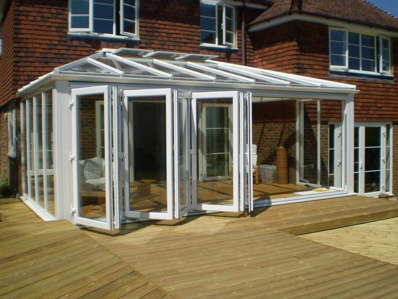 Bi-fold doors showing how they open.