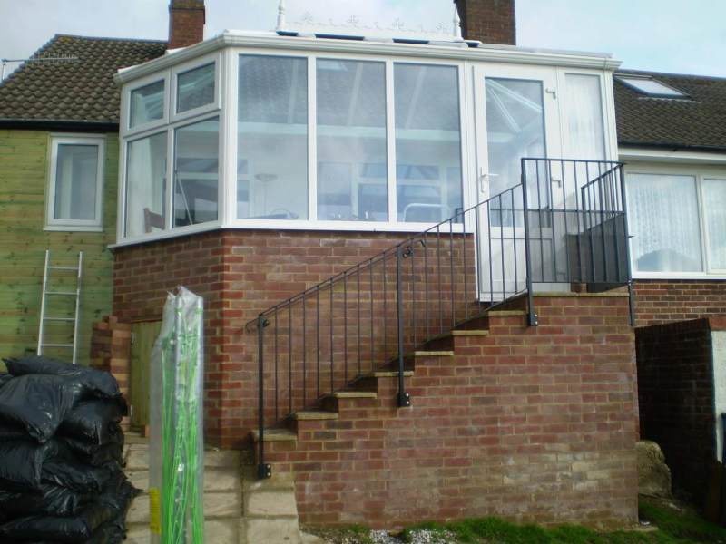 Conservatory biult in Hastings where the customers garden sloped away from the house.